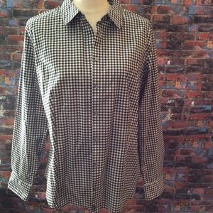 Women's button down blouse black and white size 16